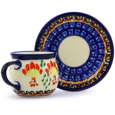 Polish Pottery Espresso Cup with Saucer 3 oz Blooming Red