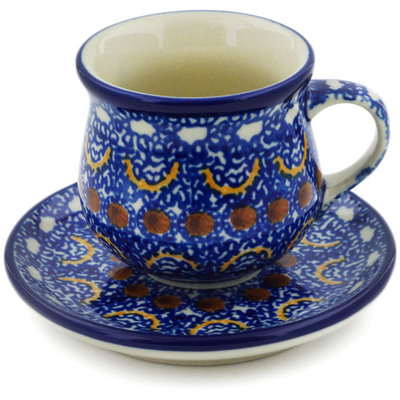 Polish Pottery Espresso Cup with Saucer 3 oz Blue Horizons