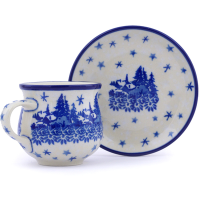 Polish Pottery Espresso Cup with Saucer 3 oz Blue Winter