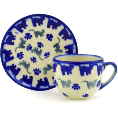Polish Pottery Espresso Cup with Saucer 3 oz Boo Boo Kitty Paws