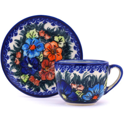 Polish Pottery Espresso Cup with Saucer 3 oz Butterfly Splendor UNIKAT