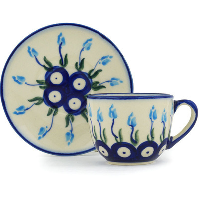 Polish Pottery Espresso Cup with Saucer 3 oz Peacock Tulip Garden