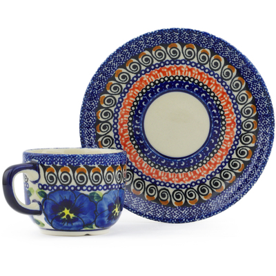 Polish Pottery Espresso Cup with Saucer 5 oz Regal Bouquet UNIKAT