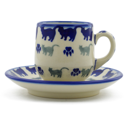 Polish Pottery espresso cup with saucer Boo Boo Kitty Paws