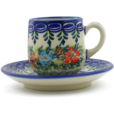 Polish Pottery espresso cup with saucer Ring Of Flowers UNIKAT