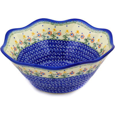 "Polish Pottery Fluted Bowl 11"" Spring Flowers"