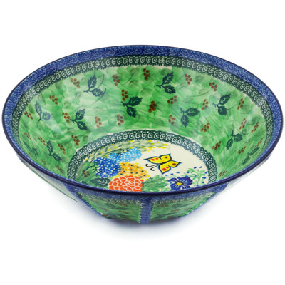 "Polish Pottery Fluted Bowl 11"" Spring Garden UNIKAT"