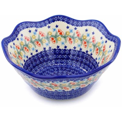 "Polish Pottery Fluted Bowl 11"" Wreath Of Bealls"
