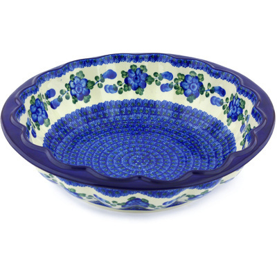 "Polish Pottery Fluted Bowl 14"" Blue Poppies"