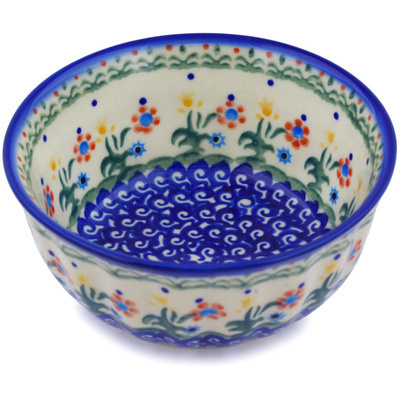 "Polish Pottery Fluted Bowl 5"" Spring Flowers"