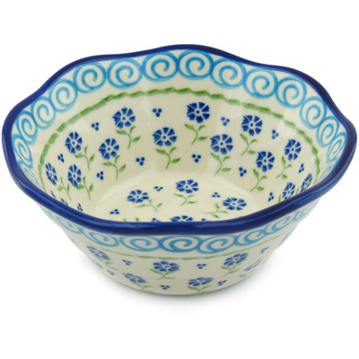 "Polish Pottery Fluted Bowl 7"" Blue Bursts"
