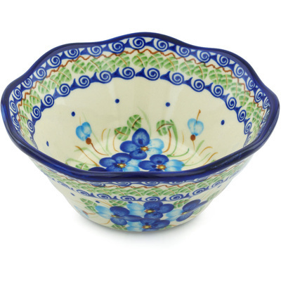 "Polish Pottery Fluted Bowl 7"" Blue Pansy"