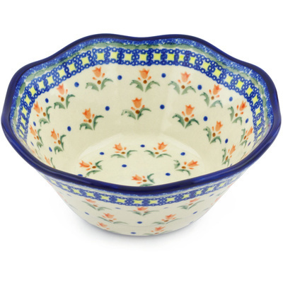 "Polish Pottery Fluted Bowl 7"" Cocentric Tulips"