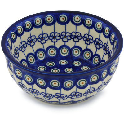 "Polish Pottery Fluted Bowl 7"" Flowering Peacock"
