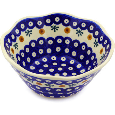 "Polish Pottery Fluted Bowl 7"" Mosquito"