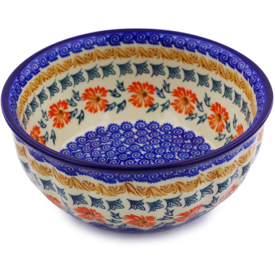 "Polish Pottery Fluted Bowl 7"" Red Cornflower"
