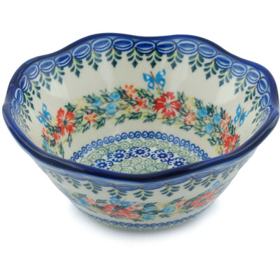 "Polish Pottery Fluted Bowl 7"" Ring Of Flowers UNIKAT"