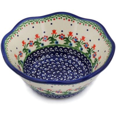 "Polish Pottery Fluted Bowl 7"" Spring Flowers"