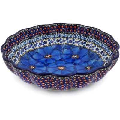 "Polish Pottery Fluted Bowl 9"" Cobalt Poppies UNIKAT"