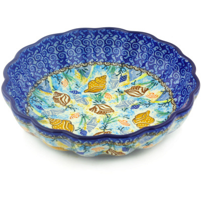 "Polish Pottery Fluted Bowl 9"" Ocean Whisper UNIKAT"