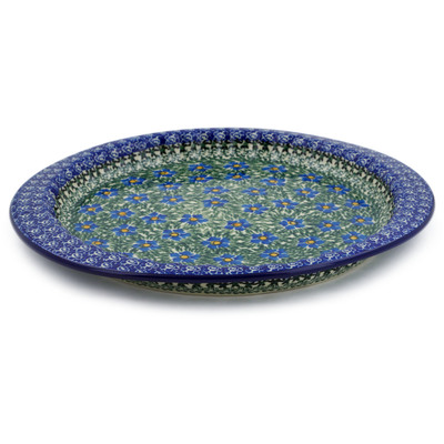 "Polish Pottery Fluted Oval Platter 13"" Blue Daisy Dream UNIKAT"