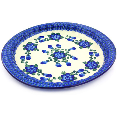 "Polish Pottery Fluted Oval Platter 13"" Blue Poppies"