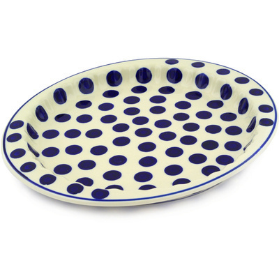 "Polish Pottery Fluted Oval Platter 13"" Bold Polka Dots"