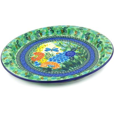 "Polish Pottery Fluted Oval Platter 13"" Garden Delight UNIKAT"