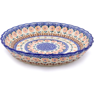 "Polish Pottery Fluted Pie Dish 10"" Amarillo"