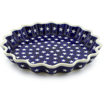 "Polish Pottery Fluted Pie Dish 10"" America The Beautiful"