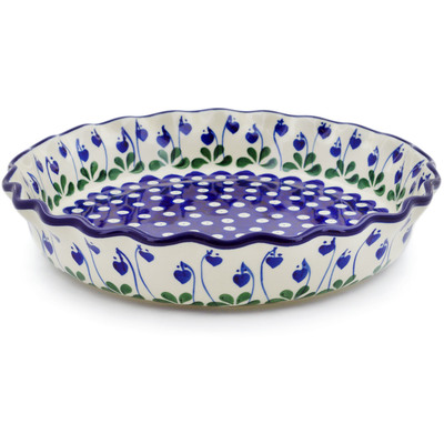 "Polish Pottery Fluted Pie Dish 10"" Bleeding Heart Peacock"