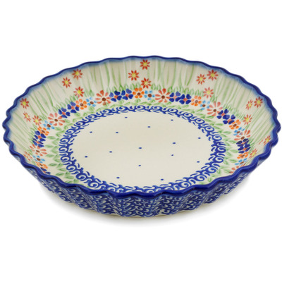 "Polish Pottery Fluted Pie Dish 10"" Blissful Daisy"
