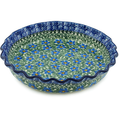 "Polish Pottery Fluted Pie Dish 10"" Blue Daisy Dream UNIKAT"
