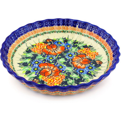 "Polish Pottery Fluted Pie Dish 10"" Bold Poppies UNIKAT"