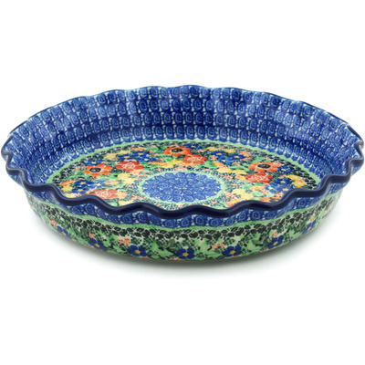 "Polish Pottery Fluted Pie Dish 10"" Bountiful Basket UNIKAT"