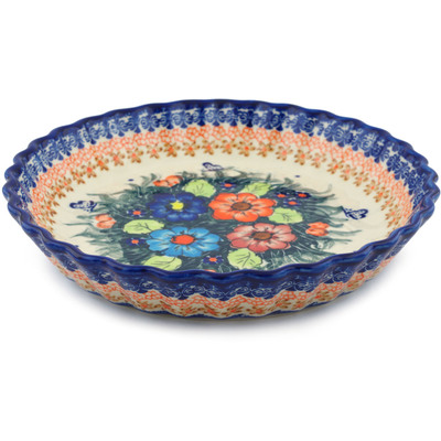 "Polish Pottery Fluted Pie Dish 10"" Butterfly Splendor UNIKAT"