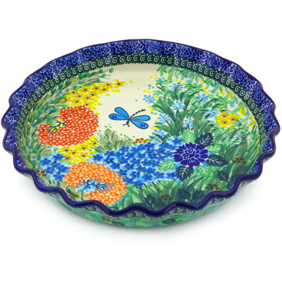 "Polish Pottery Fluted Pie Dish 10"" Garden Delight UNIKAT"
