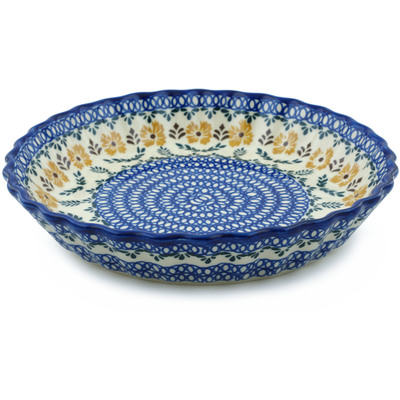 "Polish Pottery Fluted Pie Dish 10"" Golden Flower Garden"