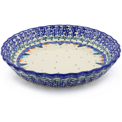 "Polish Pottery Fluted Pie Dish 10"" Holiday Drive"