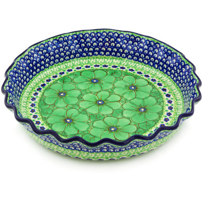 "Polish Pottery Fluted Pie Dish 10"" Key Lime Dreams UNIKAT"