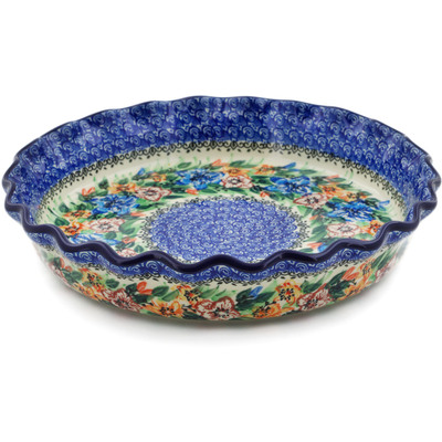 "Polish Pottery Fluted Pie Dish 10"" Lily Gardens UNIKAT"