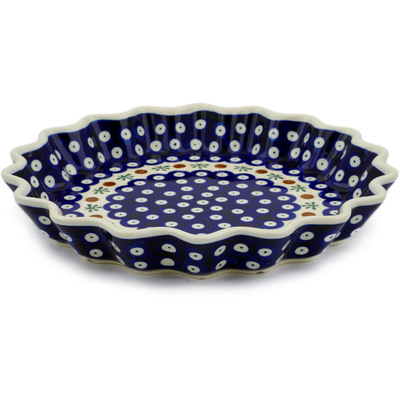 "Polish Pottery Fluted Pie Dish 10"" Mosquito"