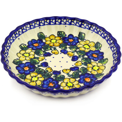 "Polish Pottery Fluted Pie Dish 10"" Pansy Circle"