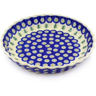 "Polish Pottery Fluted Pie Dish 10"" Peacock Pines"