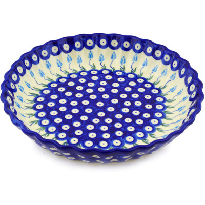 "Polish Pottery Fluted Pie Dish 10"" Peacock Tulip Garden"