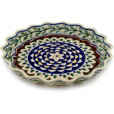 "Polish Pottery Fluted Pie Dish 10"" Pine Boughs"