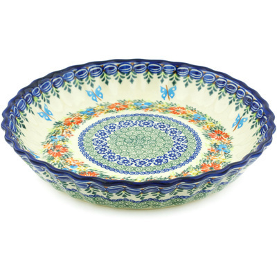 "Polish Pottery Fluted Pie Dish 10"" Red Cornflower And Blue Butterflies UNIKAT"