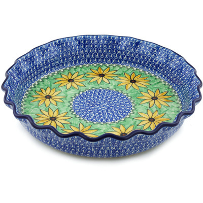 "Polish Pottery Fluted Pie Dish 10"" Summer Suzies UNIKAT"