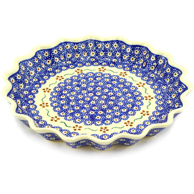 "Polish Pottery Fluted Pie Dish 10"" Sweet Red Flower"