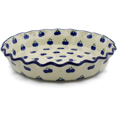 "Polish Pottery Fluted Pie Dish 10"" Wild Blueberry"